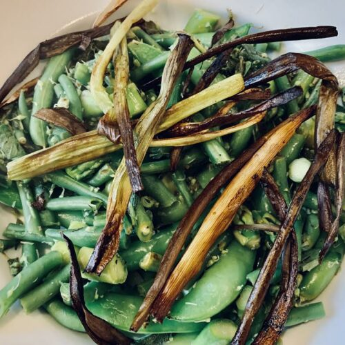 Green vegetable with scape, sage, oregano, lemon, serrano
