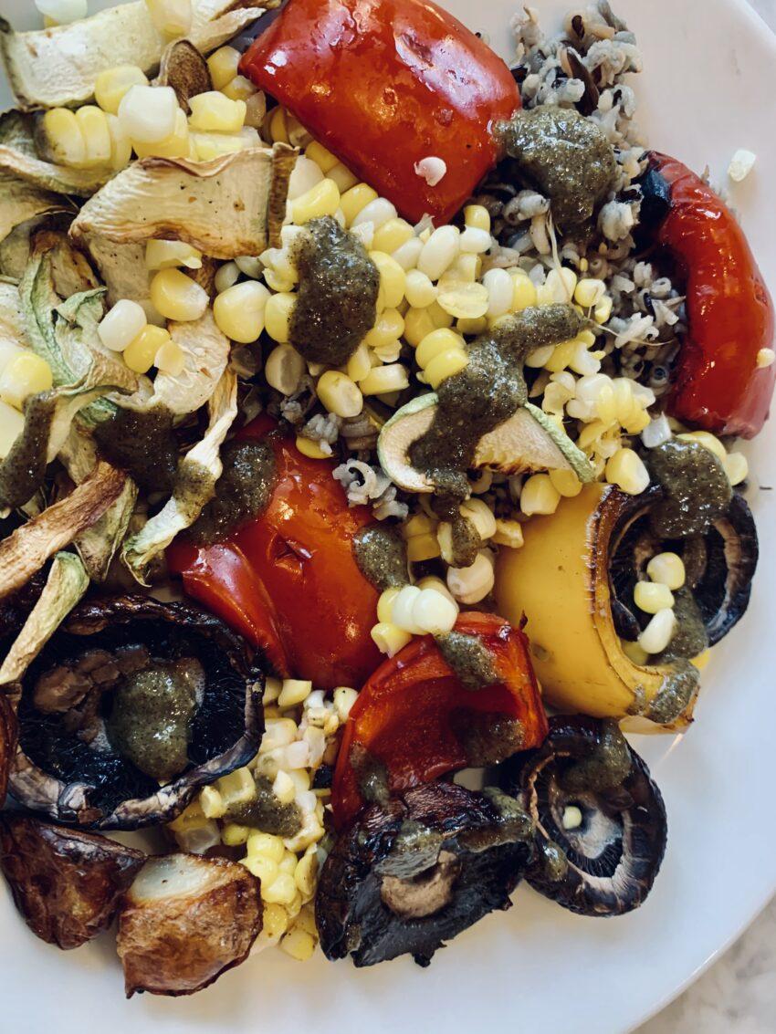 Grilled veggies with scallion vinaigrette