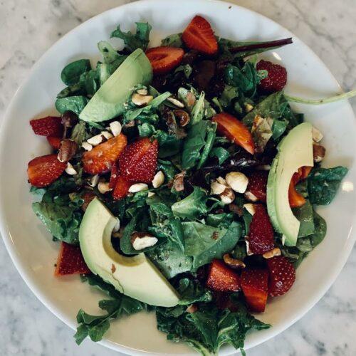 Strawberry Mint Basil Cucumber Salad