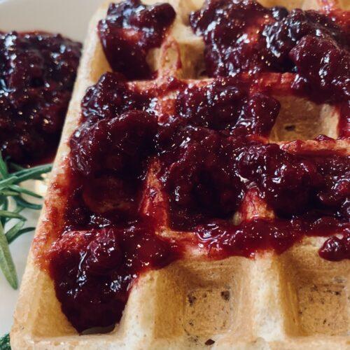 Blackberry Rosemary Jam with Belgium Waffles